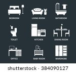 home interior design icons for ... | Shutterstock .eps vector #384090127