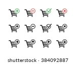 set of black shopping carts... | Shutterstock . vector #384092887