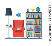 room interior with bookcase ... | Shutterstock . vector #384095797