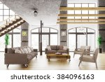 modern loft apartment interior  ... | Shutterstock . vector #384096163