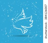 peace dove .brush painted.... | Shutterstock .eps vector #384126007