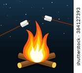 bonfire with marshmallow.... | Shutterstock .eps vector #384127393