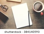 working wooden table on... | Shutterstock . vector #384140593