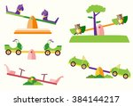 set of see saw on playgrounds | Shutterstock .eps vector #384144217