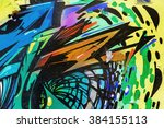 beautiful street art graffiti.... | Shutterstock . vector #384155113