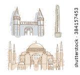 istanbul landmarks topkapi... | Shutterstock .eps vector #384157453