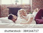 lifestyle. beautiful couple in... | Shutterstock . vector #384166717