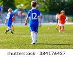 young boy as a soccer football... | Shutterstock . vector #384176437
