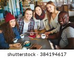 smiling teenagers looking at... | Shutterstock . vector #384194617