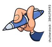 Hand Holding Blue Pen 2