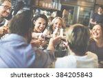 eating enjoy food festive cafe... | Shutterstock . vector #384205843
