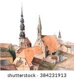 old city part of riga  latvia... | Shutterstock . vector #384231913