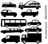 assorted vehicle silhouettes... | Shutterstock .eps vector #38423593