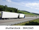 large clean white truck driving ... | Shutterstock . vector #3842365