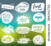 labels with vegetarian and raw... | Shutterstock .eps vector #384241753