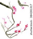 plum blossom. picture in east... | Shutterstock . vector #384281317