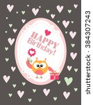 happy birthday card | Shutterstock .eps vector #384307243