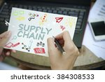 hand drawing supply chain... | Shutterstock . vector #384308533