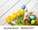 easter background with colorful ... | Shutterstock . vector #384331357