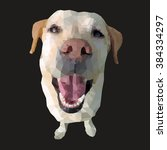 polygonal illustration of a dog....   Shutterstock .eps vector #384334297