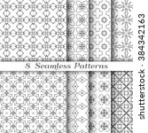set of 8 seamless linear... | Shutterstock .eps vector #384342163