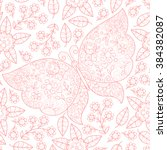 vector butterfly and flowers... | Shutterstock .eps vector #384382087
