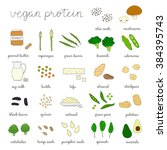 plant based protein. hand drawn ... | Shutterstock .eps vector #384395743