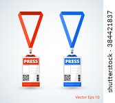 id card press with lanyard set. ... | Shutterstock .eps vector #384421837