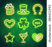 st patrick's day glowing neon... | Shutterstock .eps vector #384421993