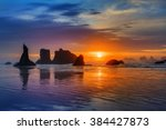 Sunset At Bandon Beach Over Th...