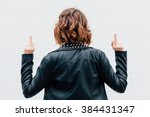 hipster woman show middle... | Shutterstock . vector #384431347