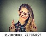 closeup portrait hopeful... | Shutterstock . vector #384453907