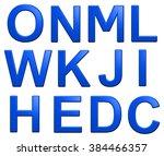 blue alphabet set  isolated on... | Shutterstock . vector #384466357