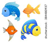 sea fishes set. cartoon cute...