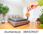 hand with house key. | Shutterstock . vector #384529657