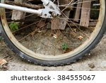 the rear wheel flat tire of the ... | Shutterstock . vector #384555067