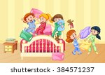 girls playing pillow fight at... | Shutterstock .eps vector #384571237