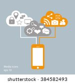flat mobile phone vector with... | Shutterstock .eps vector #384582493