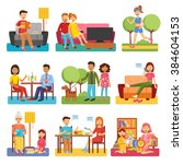 family flat style people... | Shutterstock .eps vector #384604153