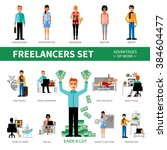 freelancers set with advantages ... | Shutterstock .eps vector #384604477