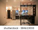 cozy apartment in beige tones.... | Shutterstock . vector #384613033
