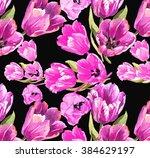 tulips flowers pattern...   Shutterstock . vector #384629197