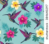 tropical flowers with a bird... | Shutterstock .eps vector #384640297