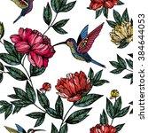 hummingbird with flowers pattern | Shutterstock .eps vector #384644053