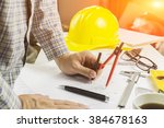 side view of architect drawing... | Shutterstock . vector #384678163
