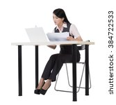 asian business woman sit and... | Shutterstock . vector #384722533
