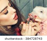 beautiful young sensual... | Shutterstock . vector #384728743