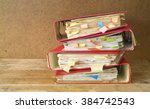stack of messy file folders and ... | Shutterstock . vector #384742543