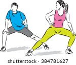 fitness couple stretching... | Shutterstock .eps vector #384781627