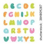 colorful sketch alphabet    Shutterstock .eps vector #384809287
